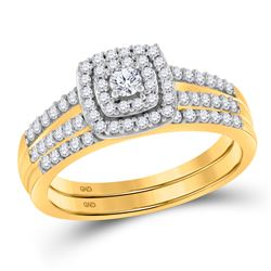 0.50 CTW Diamond Split-shank Bridal Engagement Ring 10KT Yellow Gold - REF-44Y9X