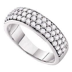 1 CTW Pave-set Diamond Triple Row Wedding Ring 10KT White Gold - REF-82M4H