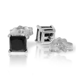 Genuine 1.0 ctw Black Diamond Earrings Jewelry 14KT White Gold - REF-46R7P