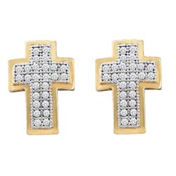 0.15 CTW Diamond Cross Screwback Stud Earrings 10KT Yellow Gold - REF-14X9Y