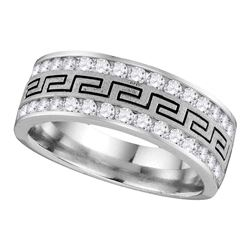0.25 CTW Mens Diamond Grecco Wedding Ring 14KT White Gold - REF-49N5F