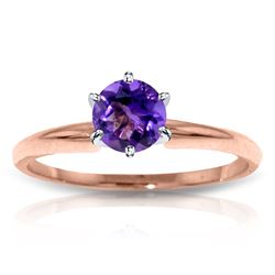 Genuine 0.65 ctw Amethyst Ring Jewelry 14KT Rose Gold - REF-26H9X