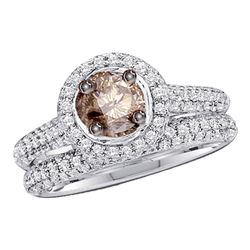 1.23 CTW Cognac-brown Diamond Solitaire Bridal Set 14k White Gold - REF-89H9M