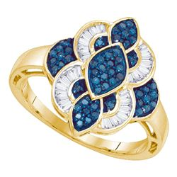 0.45 CTW Blue Color Diamond Wide Fashion Ring 10KT Yellow Gold - REF-30F2N