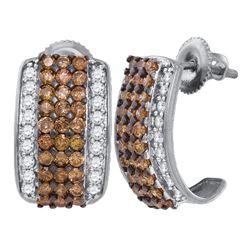 1.88 CTW Cognac-brown Color Diamond Stud Earrings 10KT White Gold - REF-79F4N