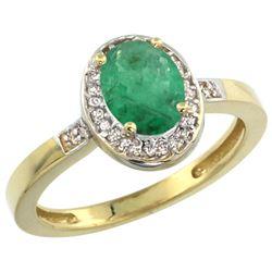 Natural 1.08 ctw Emerald & Diamond Engagement Ring 10K Yellow Gold - REF-28G3M