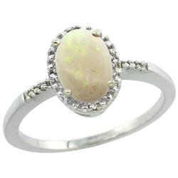 Natural 0.73 ctw Opal & Diamond Engagement Ring 14K White Gold - REF-22G9M
