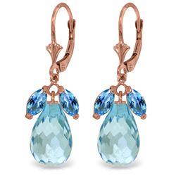 Genuine 14.4 ctw Blue Topaz Earrings Jewelry 14KT Rose Gold - REF-46A7K