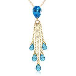 Genuine 7.5 ctw Blue Topaz Necklace Jewelry 14KT Yellow Gold - REF-39F4Z