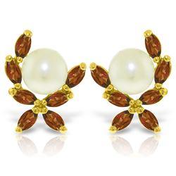Genuine 3.25 ctw Pearl & Garnet Earrings Jewelry 14KT Yellow Gold - REF-30H2X