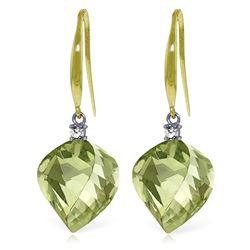 Genuine 26.1 ctw Green Amethyst & Diamond Earrings Jewelry 14KT Yellow Gold - REF-55X3M