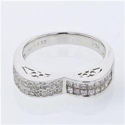0.60 CTW Diamond Ring 18K White Gold - REF-66N2Y