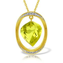Genuine 10.85 ctw Lemon Quartz & Diamond Necklace Jewelry 14KT Yellow Gold - REF-111W2Y