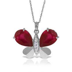 Genuine 10.60 ctw Ruby & Diamond Necklace Jewelry 14KT White Gold - REF-181R9P