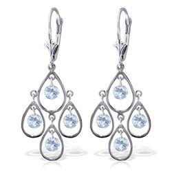 Genuine 2.4 ctw Aquamarine Earrings Jewelry 14KT White Gold - REF-61X6M