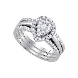 0.51 CTW Diamond Teardrop 3-Piece Bridal Engagement Ring 14k White Gold - REF-71Y3X