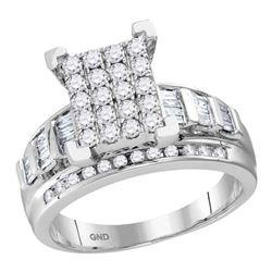 0.92 CTW Diamond Cluster Bridal Engagement Ring 10KT White Gold - REF-63N2F
