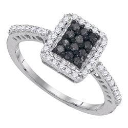 0.45 CTW Black Color Diamond Cluster Ring 10KT White Gold - REF-24M2H