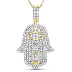 1.46 CTW Diamond Pendant 10KT Yellow Gold - REF-122Y5M