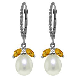 Genuine 9 ctw Citrine & Pearl Earrings Jewelry 14KT White Gold - REF-39R3P
