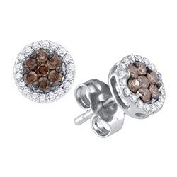 0.25 CTW Cognac-brown Color Diamond Flower Stud Earrings 10KT White Gold - REF-14Y9X