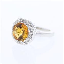 4.64 CTW Citrine & Diamond Ring 18K White Gold - REF-101R2K