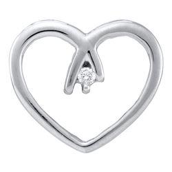 0.03 CTW Diamond Solitaire Heart Pendant 10KT White Gold - REF-8N9F