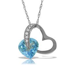 Genuine 4.6 ctw Blue Topaz & Diamond Necklace Jewelry 14KT White Gold - REF-50Y7F