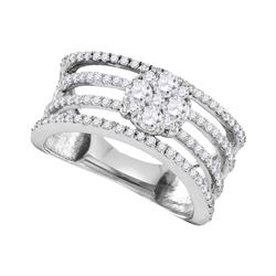 1.02 CTW Diamond Four Row Flower Cluster Ring 10KT White Gold - REF-132H2M