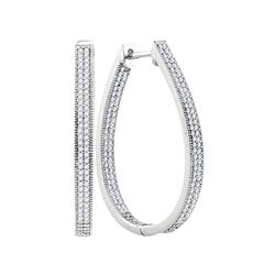 1 CTW Diamond Oval Hoop Earrings 10KT White Gold - REF-82F4N