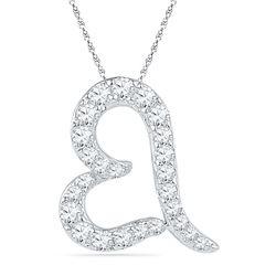 0.16 CTW Diamond Heart Love Pendant 10KT White Gold - REF-9F7N