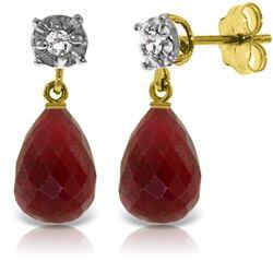 Genuine 17.66 ctw Ruby & Diamond Earrings Jewelry 14KT Yellow Gold - REF-37K4V