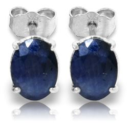 Genuine 2 ctw Sapphire Earrings Jewelry 14KT White Gold - REF-21N9R