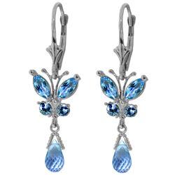Genuine 2.74 ctw Blue Topaz Earrings Jewelry 14KT White Gold - REF-42Y6F