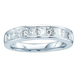 0.50 CTW Princess Channel-set Diamond Single Row Ring 14KT White Gold - REF-44X9Y