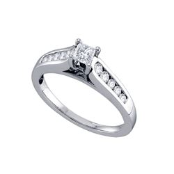 0.50 CTW Princess Diamond Solitaire Bridal Engagement Ring 14k White Gold - REF-71Y9X