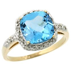 Natural 3.92 ctw Swiss-blue-topaz & Diamond Engagement Ring 14K Yellow Gold - REF-35R2Z