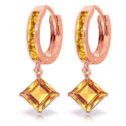 Genuine 4.4 ctw Citrine Earrings Jewelry 14KT Rose Gold - REF-53M6T