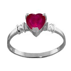 Genuine 1.03 ctw Ruby & Diamond Ring Jewelry 14KT White Gold - REF-34V6W
