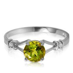 Genuine 0.87 ctw Peridot & Diamond Ring Jewelry 14KT White Gold - REF-28X2M