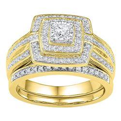 0.33 CTW Diamond Bridal Wedding Engagement Ring 10KT Yellow Gold - REF-49M5H