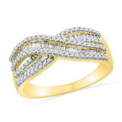0.49 CTW Diamond Crossover Ring 10KT Yellow Gold - REF-34N4F