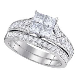 1.5 CTW Princess Diamond Bridal Engagement Ring 14KT White Gold - REF-194W9K