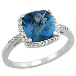 Natural 3.92 ctw London-blue-topaz & Diamond Engagement Ring 14K White Gold - REF-35K9R