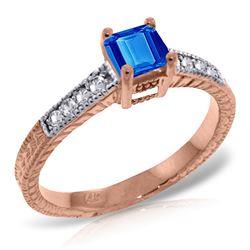 Genuine 0.65 ctw Blue Topaz & Diamond Ring Jewelry 14KT Rose Gold - REF-69N6R