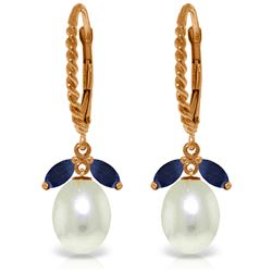 Genuine 9 ctw Sapphire & Pearl Earrings Jewelry 14KT Rose Gold - REF-42H4X