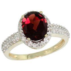 Natural 1.91 ctw Garnet & Diamond Engagement Ring 10K Yellow Gold - REF-32A5V