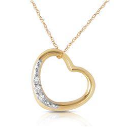 Genuine 0.03 ctw Diamond Anniversary Necklace Jewelry 14KT Yellow Gold - REF-37A4K