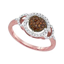0.33 CTW Red Color Diamond Circle Cluster Ring 10KT Rose Gold - REF-25N4F