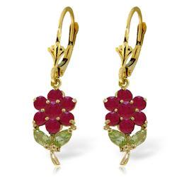 Genuine 2.12 ctw Peridot & Ruby Earrings Jewelry 14KT Yellow Gold - REF-49K3V